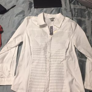 Christopher banks petite white button up blouse